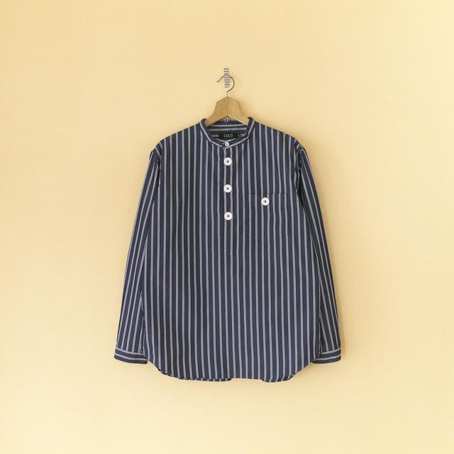 LOLO ロロ ストライプバンドカラーPOシャツ・ネイビー