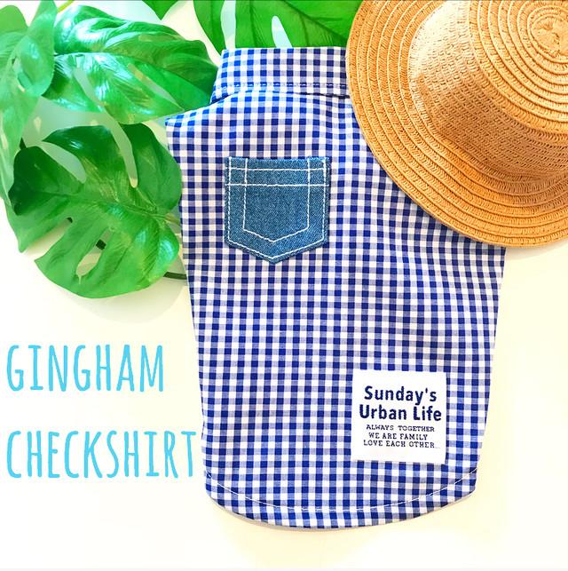 【denimポケット】ギンガムチェックシャツ Blue