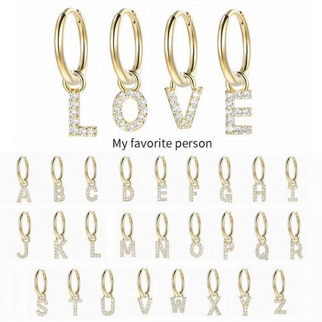A~Z 両耳 イニシャル フープピアス アルファベット 英字 ドロップピアス 両耳 アクセサリー ジュエリー / High quality temperament letter earrings (DTC-645868420372)