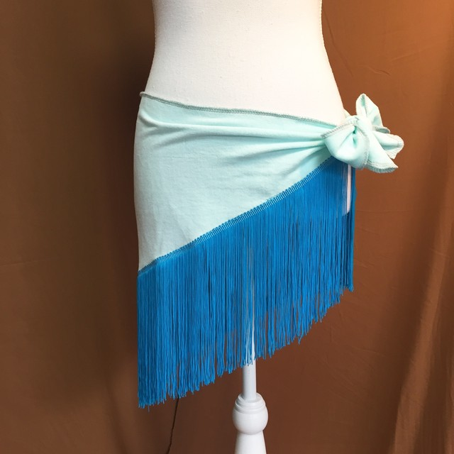 フリンジヒップスカーフ/水色×青