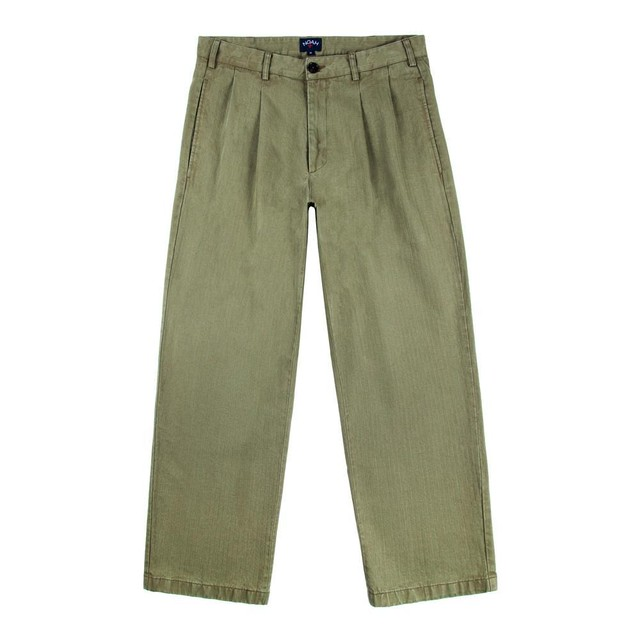Double Pleat Herringbone Trouser(Army Green)