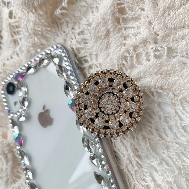 アクセサリー グリップ グリップトック iPhoneケース スマホケース キラキラ 高見え ストーン ビジュー レディース かわいい 大人 おしゃれ 韓国