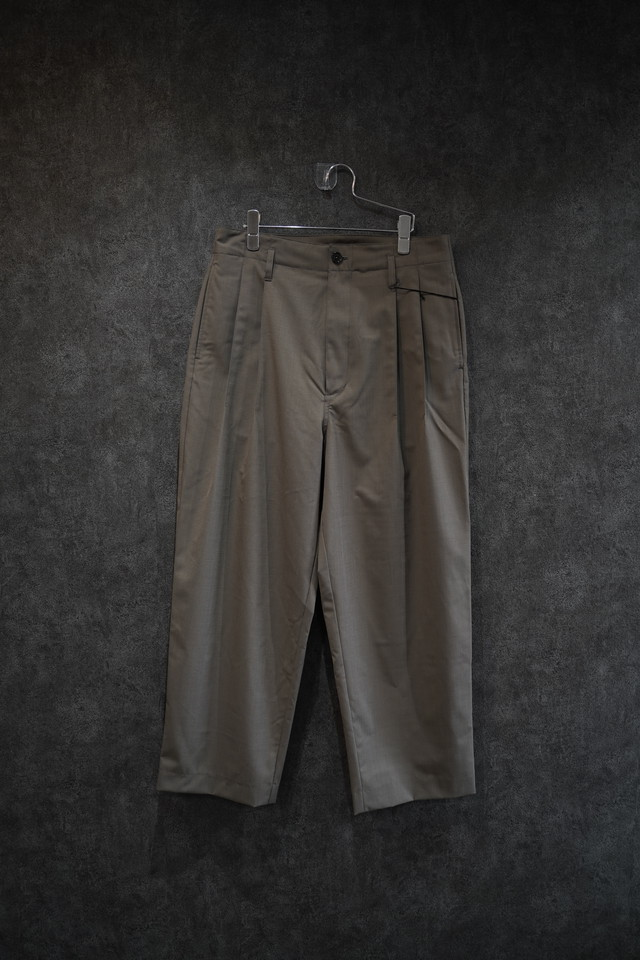 VOAAOV WASHABLE WOOL WIDE PANTS beige