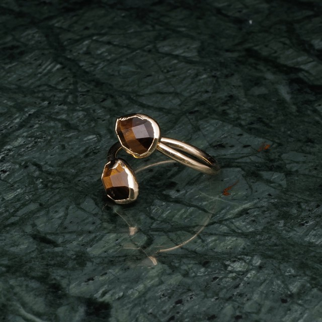 DOUBLE STONE OPEN RING GOLD 004