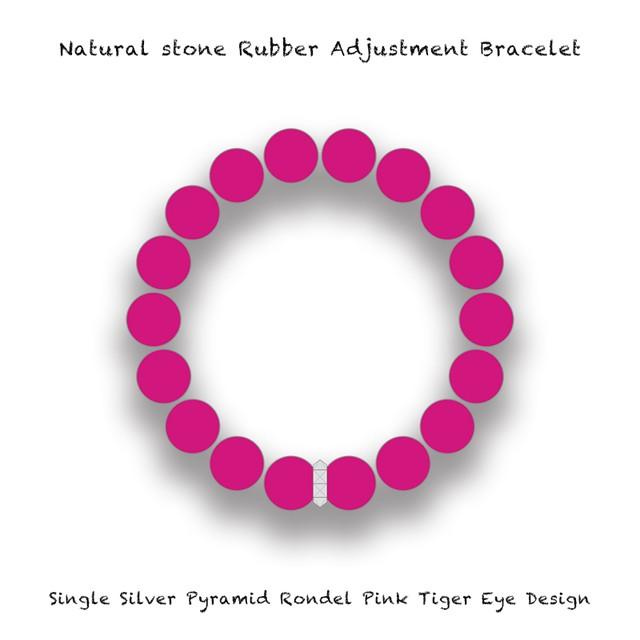 Natural Stone Rubber Adjustment Bracelet / Single Silver Pyramid Rondel Pink Tiger's Eye Design