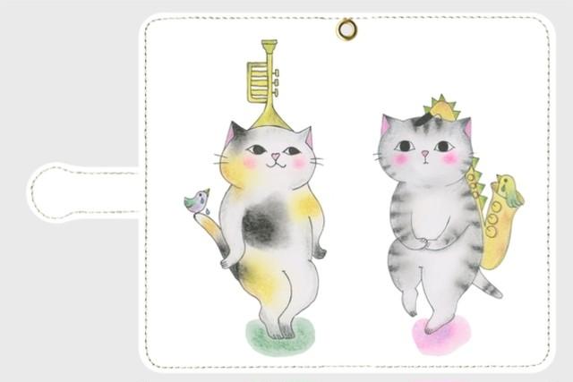 (Android用)トランペット猫とサックス猫の手帳型スマホケース