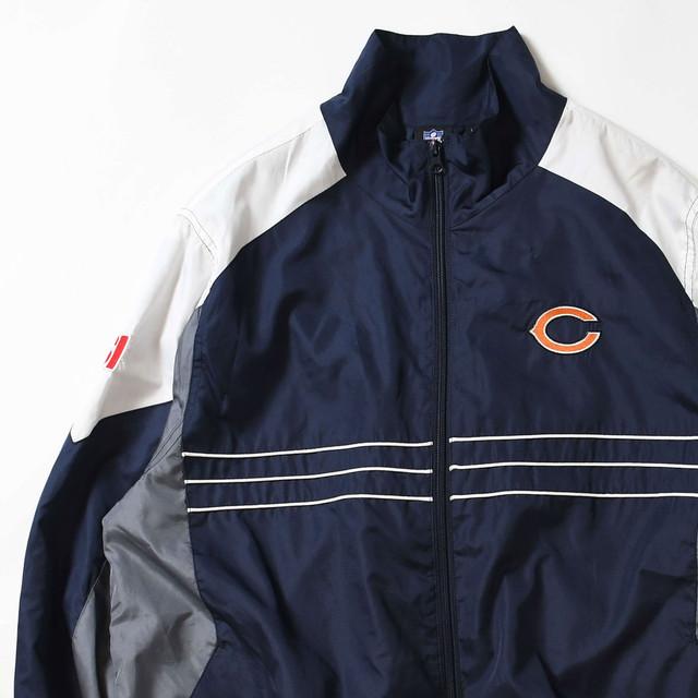 【Lサイズ】 NFL ナショナルフットボールリーグ CHICAGO NYLON JACKET ナイロンジャケット NAVY GRAY L 400610191013