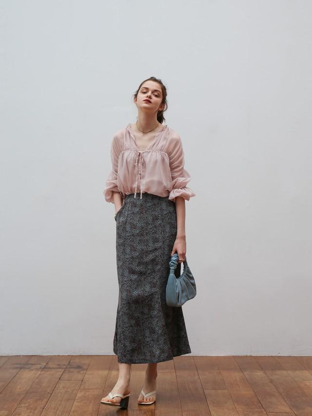 flower long skirt(brown)