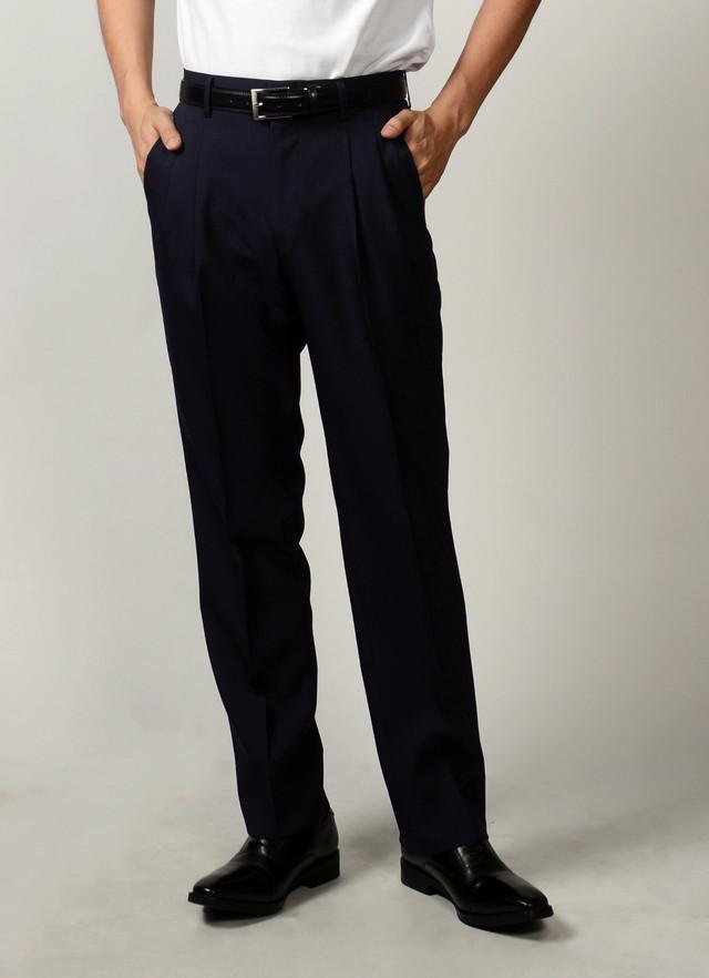 お直しなしでスグに履ける「即履きツータックスラックス」(大きいサイズ) 柄(NAVY)