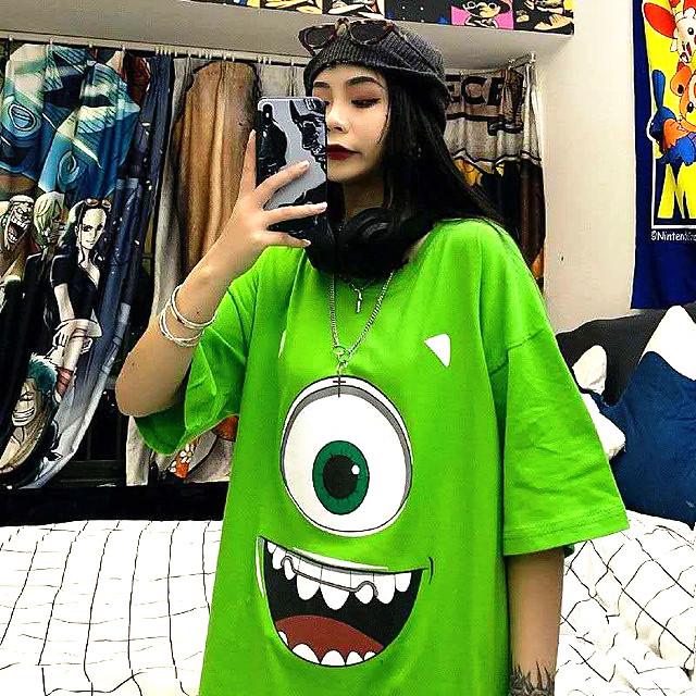【トップス】小さい怪物図柄簡約・シンプルプリントTシャツ27768543