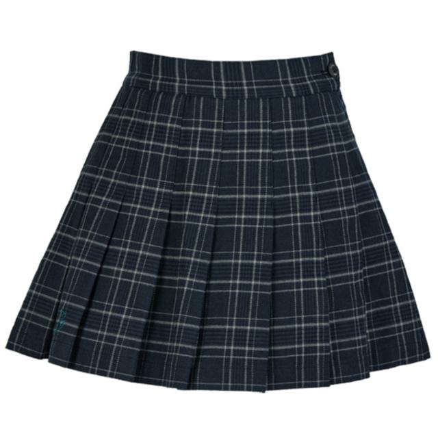 Girlish check skirt (Deep Green)