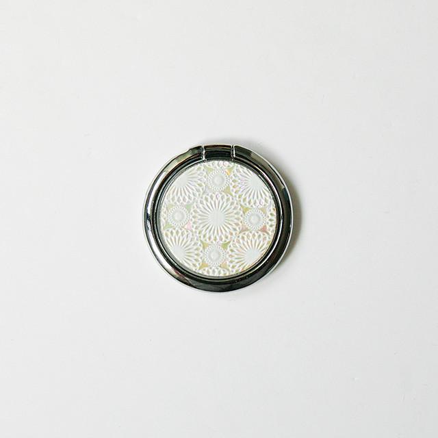 天然貝スマホリング・バンカーリング(鞠)螺鈿アート