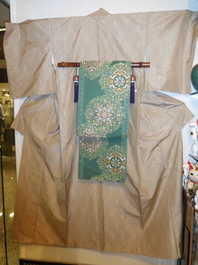 本場結城紬単衣着物 Yuki silk and pongee Kimono