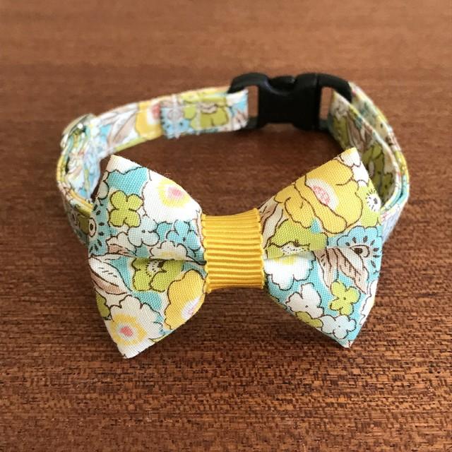 猫の首輪 リボン首輪 花柄 グログラン レモン