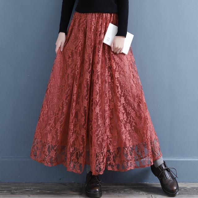 チャイナ風スカート レーススカート ボトムス ハイウエスト レディースファション チャイナ風服 エレガント 女子会 改良唐装 漢服 合わせやすい レッド 赤い