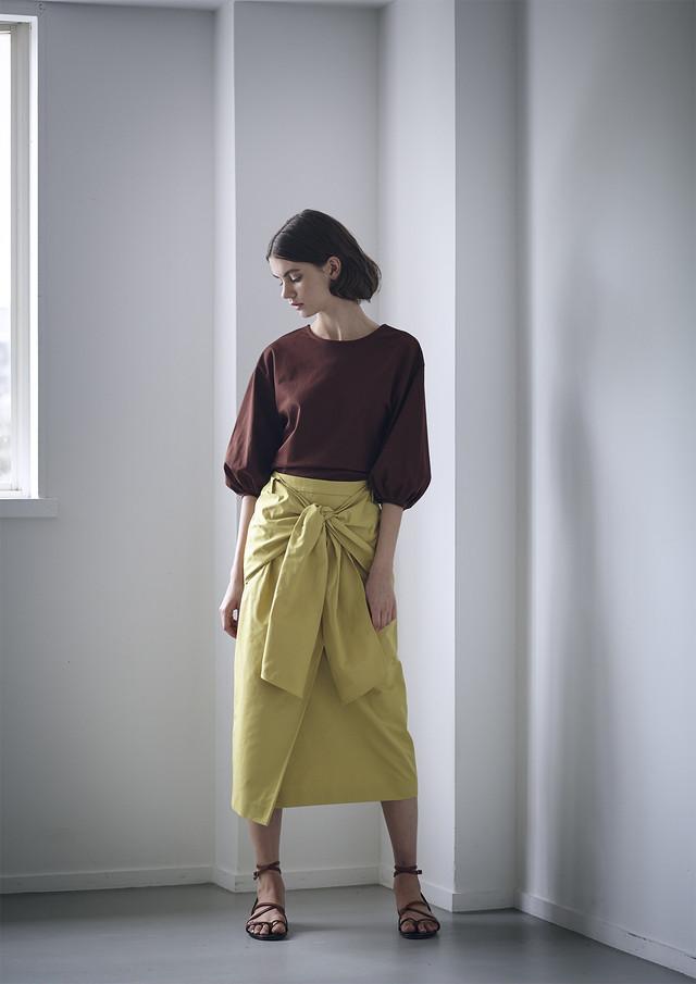 Waist bow midi skirt
