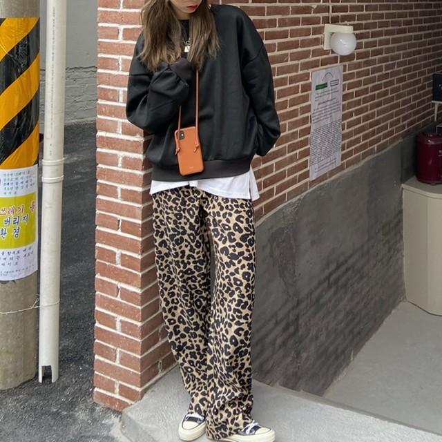 【セット】「単品注文」韓国ファッションゆったりラウンネック無地パーカー+ヒョウ柄カジュアルパンツ37412806