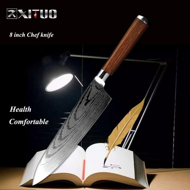 ダマスカス包丁 【XITUO 公式】  牛刀 刃渡り 20.5cm  7cr17  ks20082402