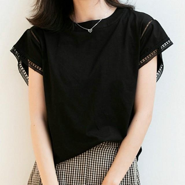 【トップス】トレンドアイテム カジュアル プルオーバー 無地 切り替え ラウンドネック Tシャツ46491622
