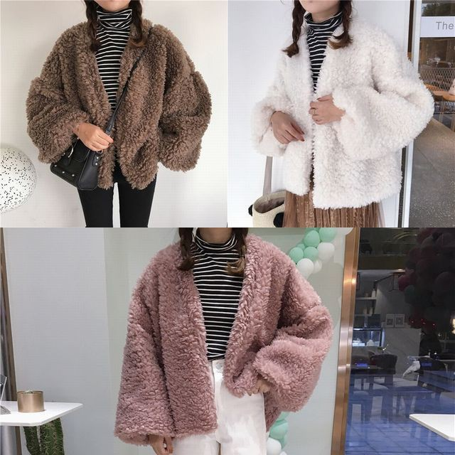 レディース もこもこ ボアショートコート ボアブルゾン / Fall and winter imitation lamb hair long sleeve solid collar plush toy coat (DCT-580858266029)