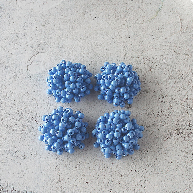 【#274P-k1】25mm 2pcs カラービーズカボション ブルー