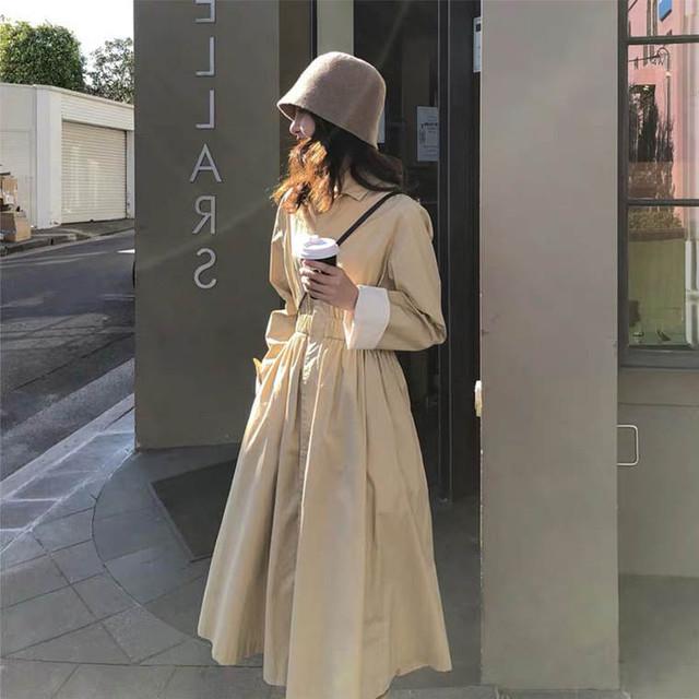 【送料無料】 上品見えなワンピ風デザイン♡ Aライン ハイウエスト トレンチコート ロングコート 襟付き バイカラー