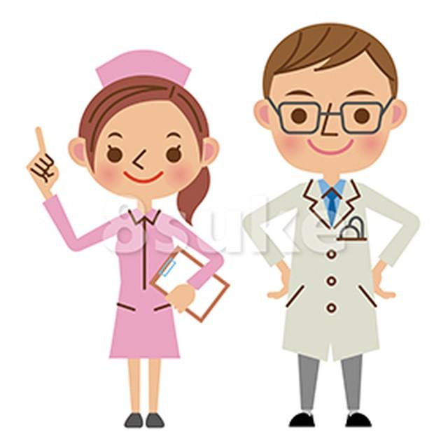 イラスト素材:医者と看護師(ベクター・JPG)