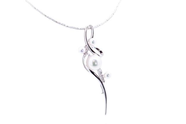 アコヤ真珠 デザインネックレス オメガチェーン ブローチ兼用