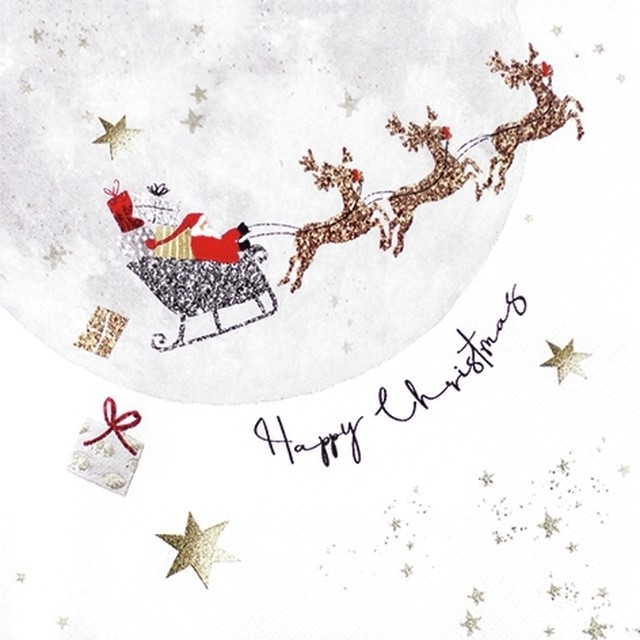 2020秋冬新作【Home Fashion】バラ売り2枚 ランチサイズ ペーパーナプキン Santa's Ride ホワイト