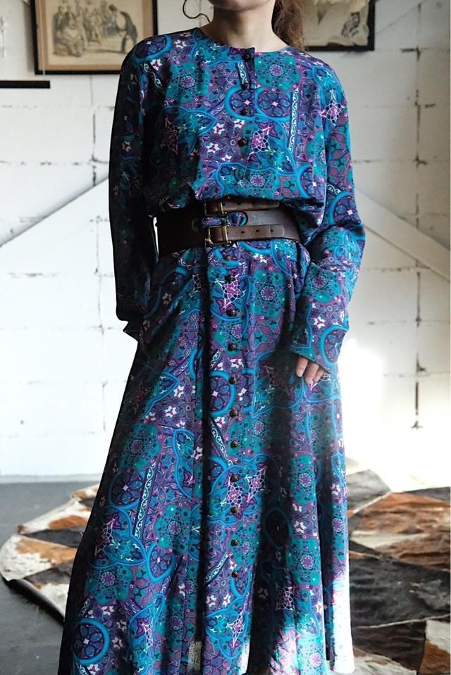 Geometric pattern  blue dress