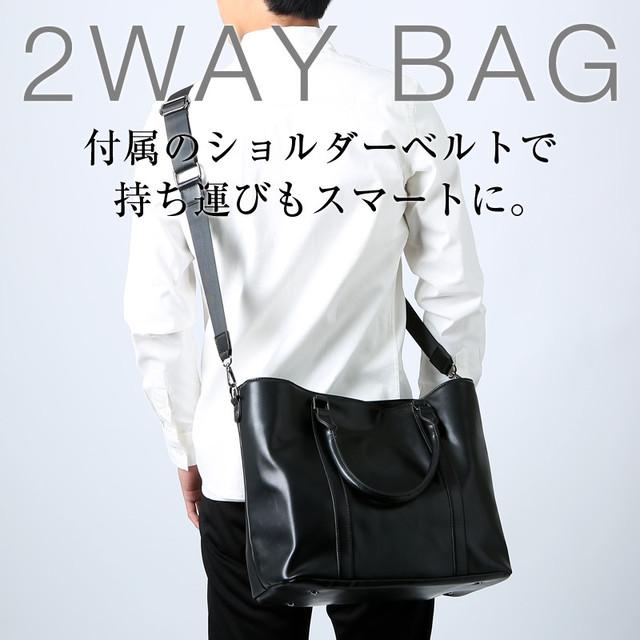 PUレザー2WAYトートバッグ ビジネス カジュアル シンプル 小物 ギフトプレゼント