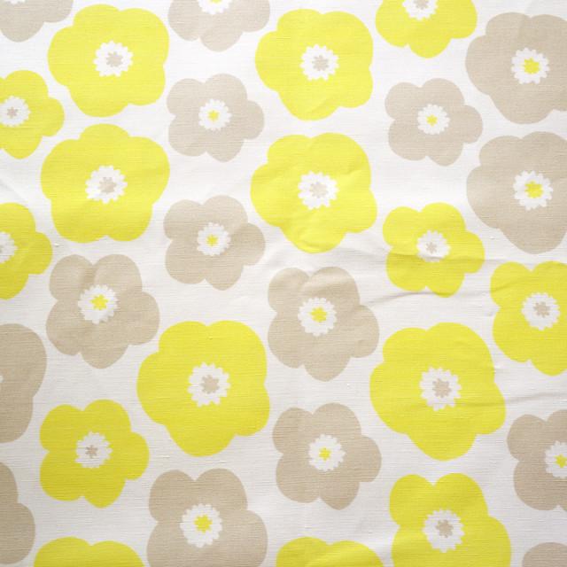 ≪生地≫ popy (yellow-baige grey) リネンコットン 90cm単位(幅137cm) 【受注生産】