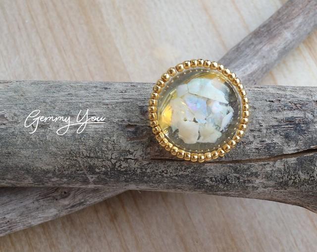 【石のきもち】オーストラリアンオパール ブローチ gold