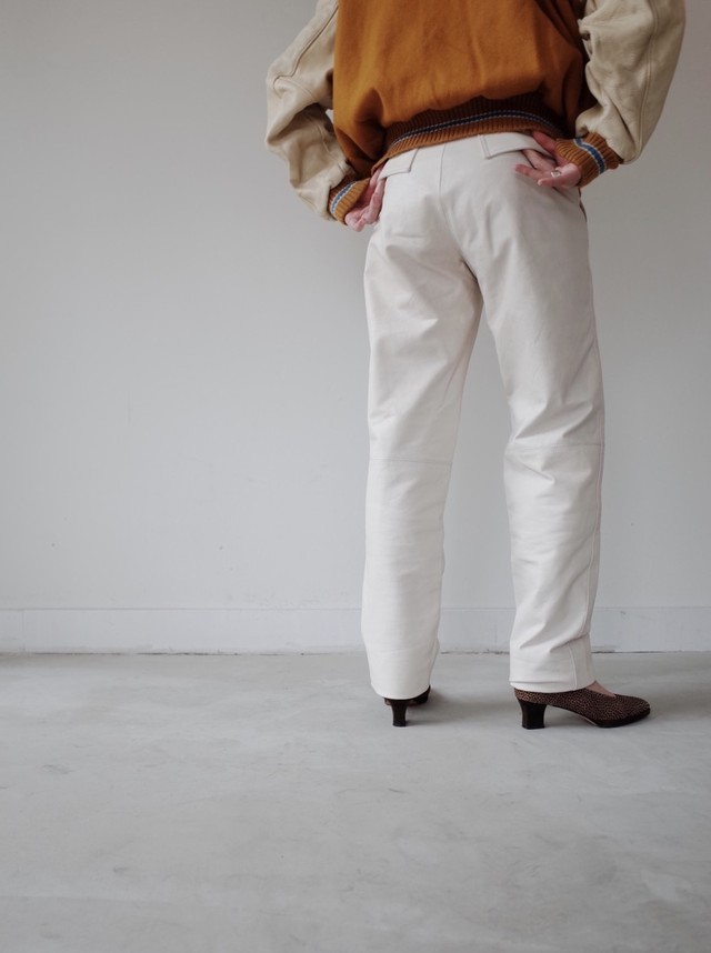 used white leather pants
