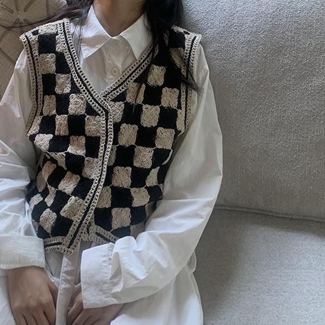 Checkerboard knit vest( チェッカーボードニットベスト)b-434
