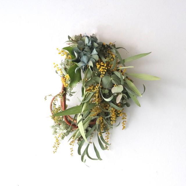 ミモザと紫陽花のオーバルリース【bdfa21021】ドライフラワー