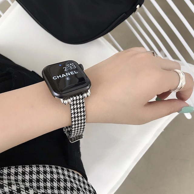 Houndstooth black white applewatch belt