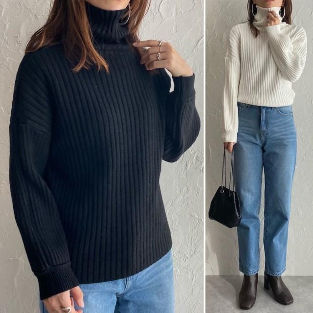 ◆即納◆タートルネック リブ編み ふんわり 長袖 ニット セーター トップス OP-t78