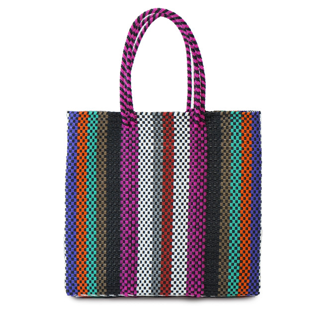 MERCADO BAG SIGNAL LINES SEMI LONG HANDLE  -  MULTI COLOR STRIPE(M)