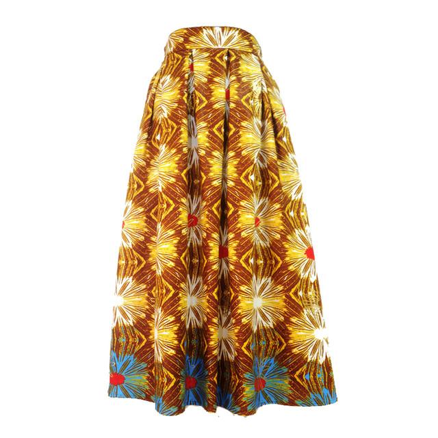 ミモレ丈スカート アフリカンファブリック「大輪の花」ブラウン×イエロー×ブルー(日本縫製) アフリカン エスニック ガーナ服 パーニュ バティック