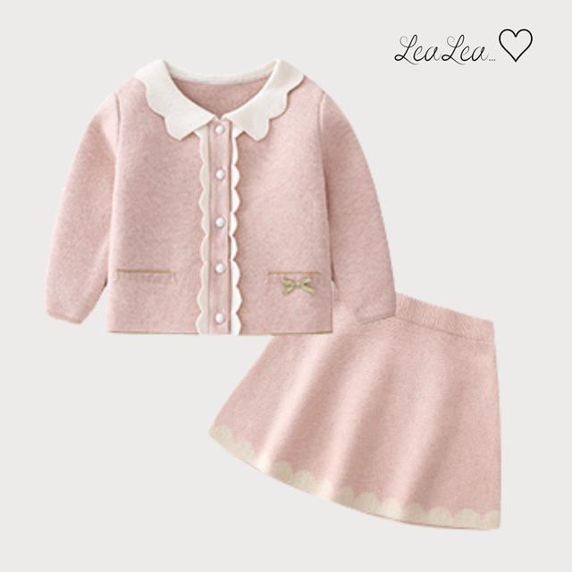 フリルデザインカーディガン&スカートのセットアップ(80cm-120cm)| LeaLea...♡(レアレア)-海外の子供服セレクトショップ