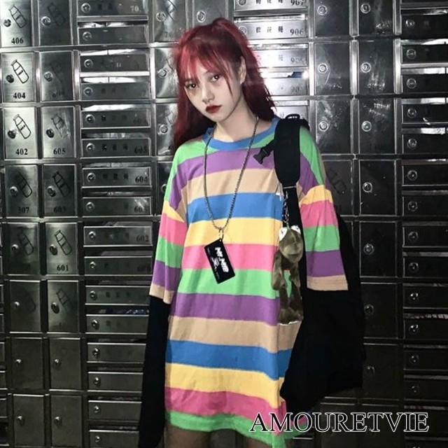 トップス シャツ Tシャツ 長袖 カラフル 個性派 個性的 ピープス オルチャン 韓国ファッション