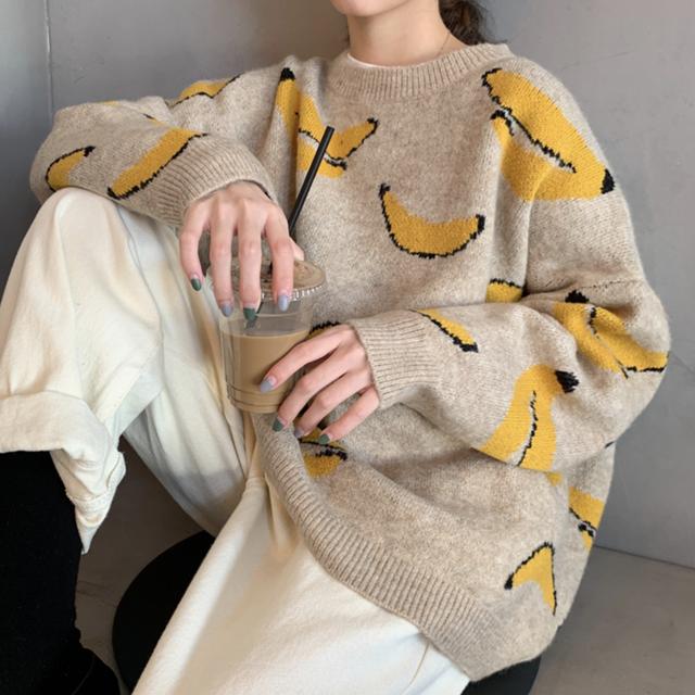 セーター 厚手 ニット バナナ 大柄 ゆったり カジュアル ポップ オーバーサイズ  秋冬物 防寒 あたたか 全2色 おすすめ
