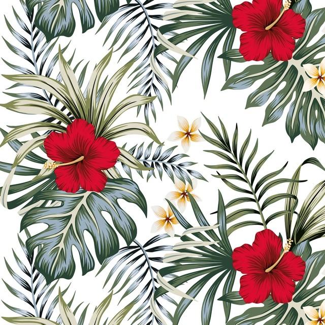 2021秋冬【Nouveau】バラ売り2枚 ランチサイズ ペーパーナプキン Hibiscus ホワイト