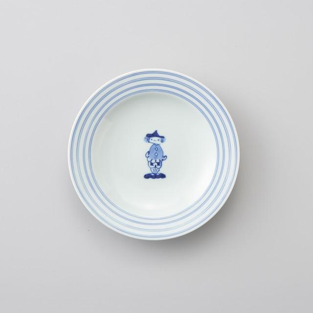 【青花】マント異人 プチケーキ皿