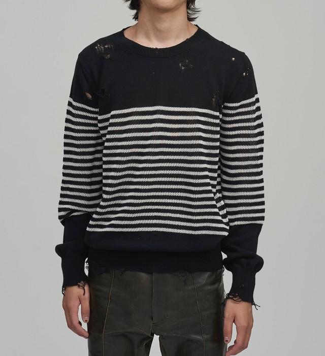 BED J.W. FORD /  Damage border knit(BLACK×WHITE)