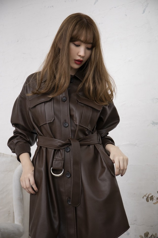 Vegan Leather Belted Long Jacket
