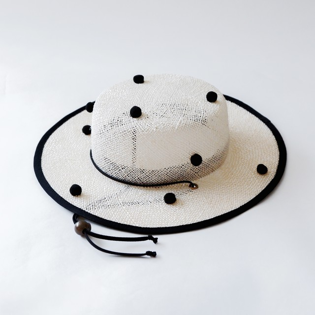 《michirico 2020SS》PonPon boater hat / natural & black