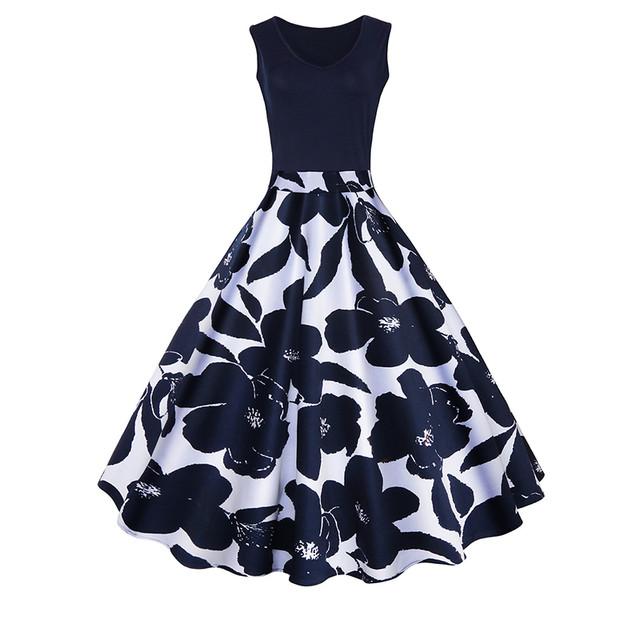 【dress】花柄ワンピースリボンドット柄プリントラウンドネック