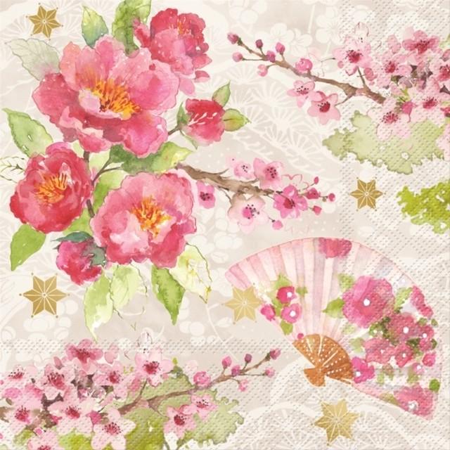 【Punch Studio】バラ売り1枚 ランチサイズ ペーパーナプキン CHERRY BLOSSOM ピンク